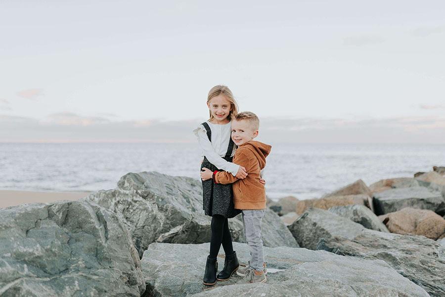 Kids hugging