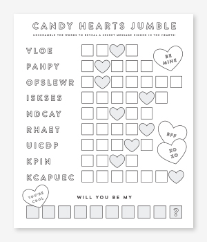 Candy Hearts Jumble Printable