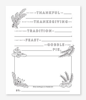 Fill in the Thanks Thanksgiving Printable