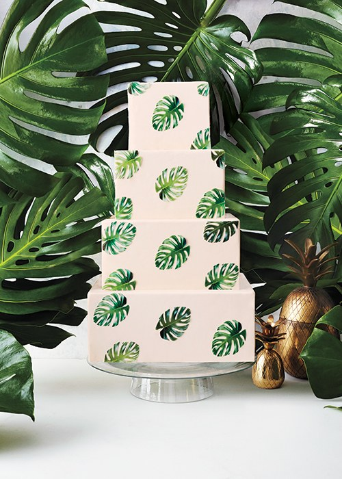 wedding cake with painted leaves