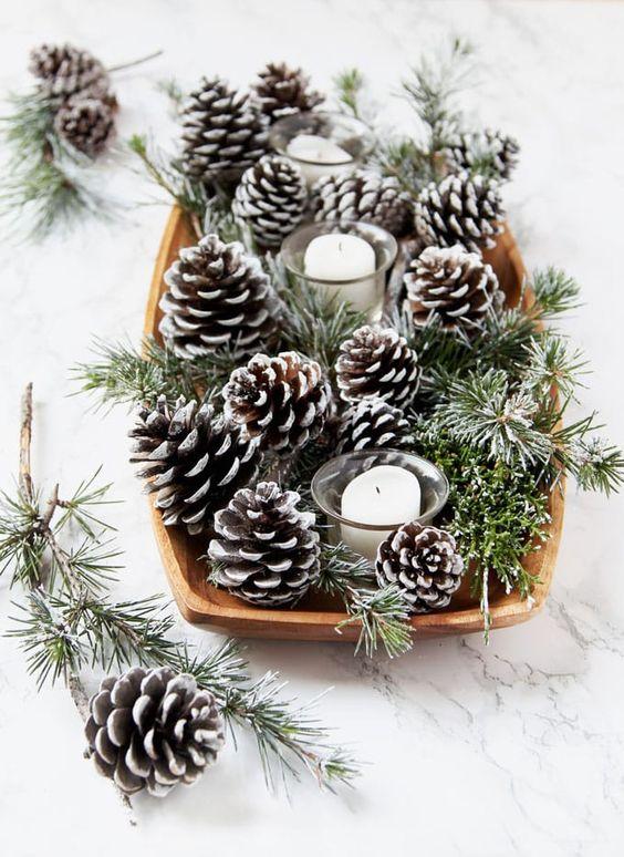 pinecones in basket