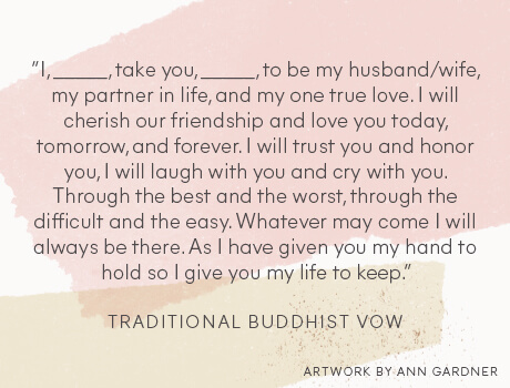 Traditional Buddhist wedding vow