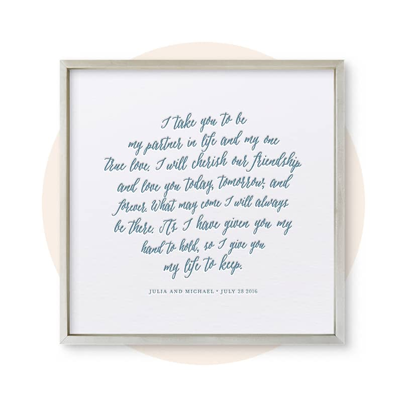 Letterpress Wedding Vows