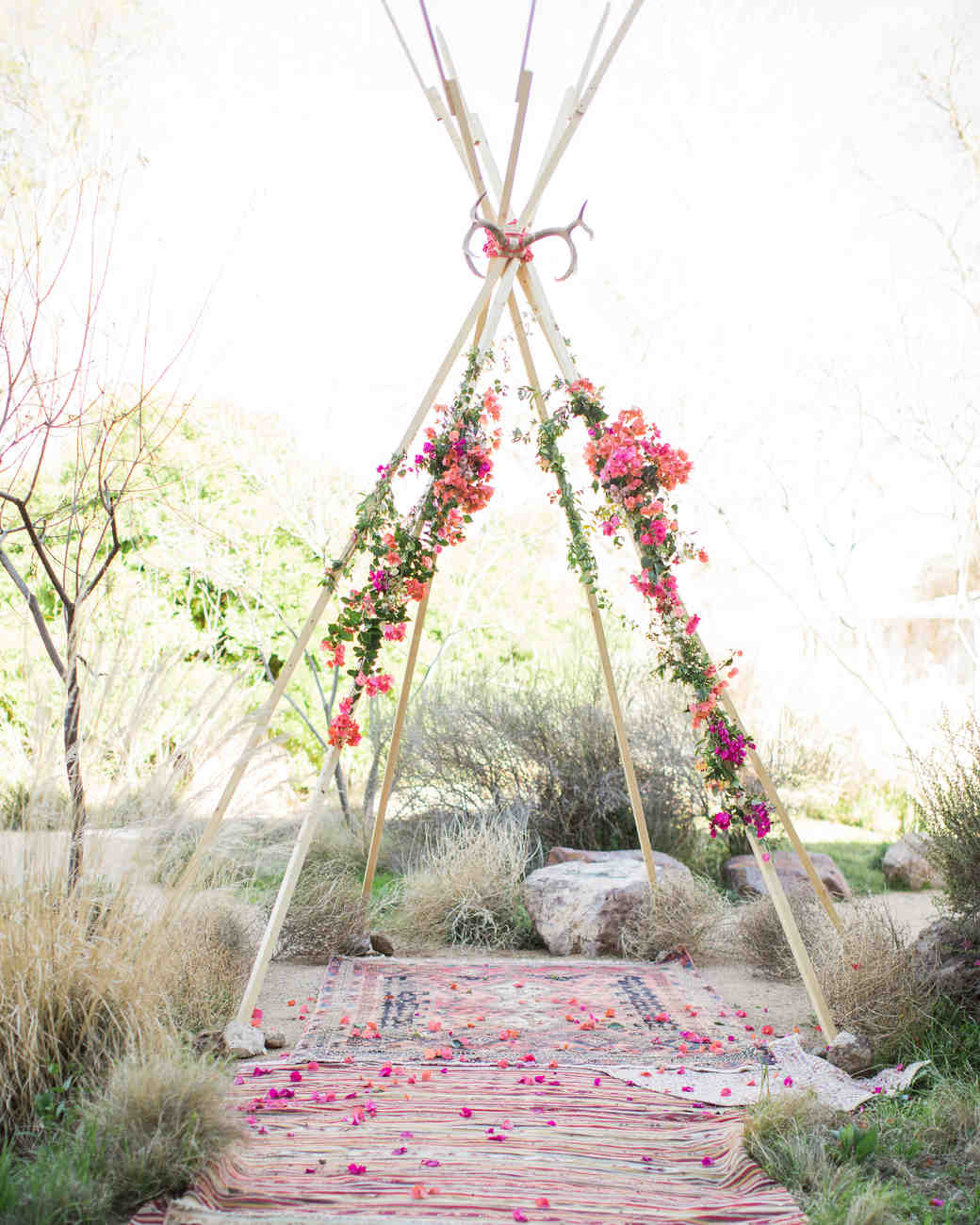 bohemian altar with flowers