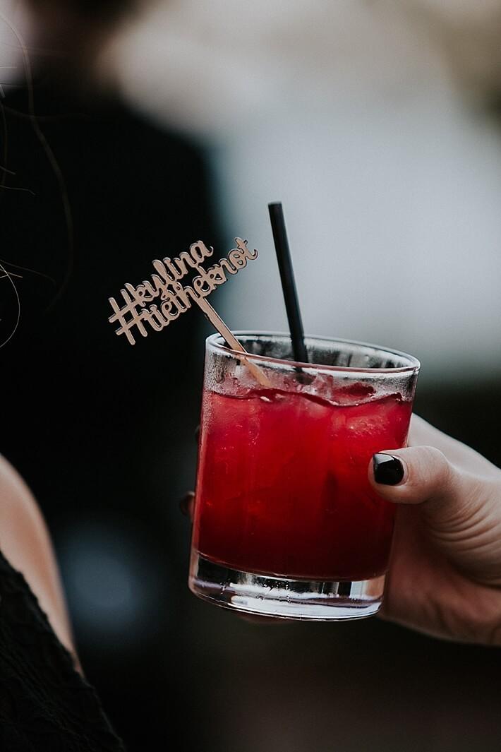 Drink stirrer with wedding hashtag