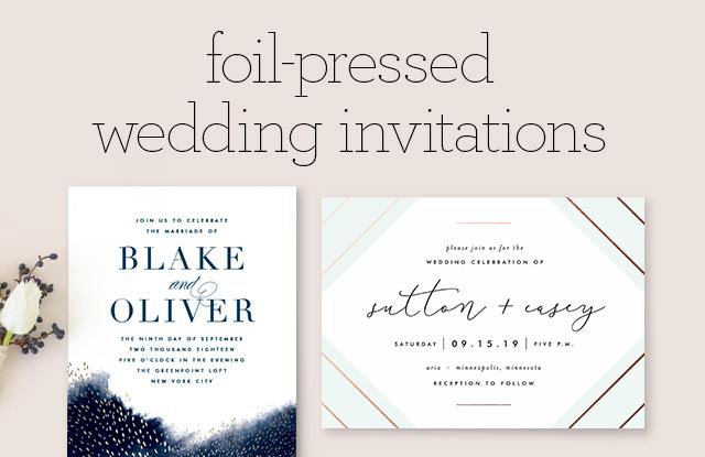 Foil Pressed Wedding Invitations Minted