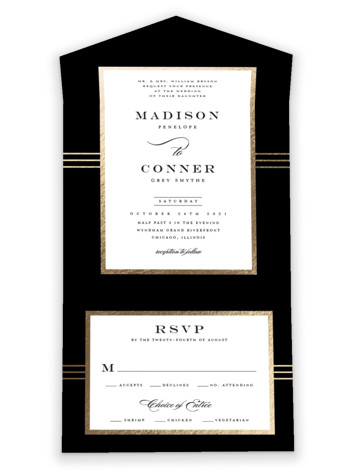Distinguished Frame All-in-One Foil-Pressed Wedding Invitations