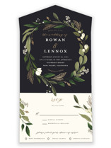 This is a blue all in one wedding invitation by Susan Moyal called Greenery Crown with foil-pressed printing on strathmore in all-in-one.