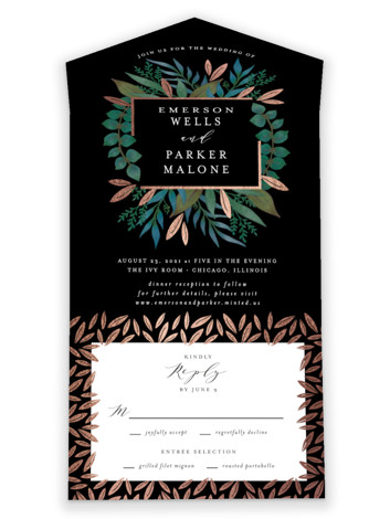 Verdure All-in-One Foil-Pressed Wedding Invitations