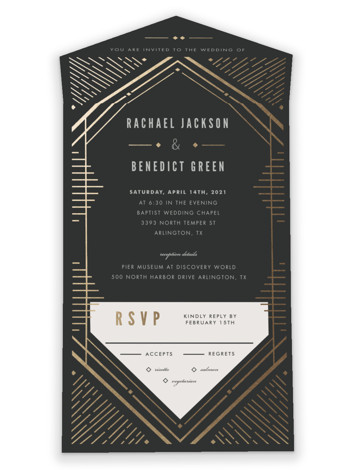 Big Spark All-in-One Foil-Pressed Wedding Invitations