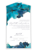 This is a blue all in one wedding invitation by Erin Deegan called Modern Tide Pools with foil-pressed printing on strathmore in all-in-one.
