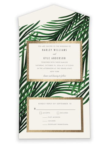 Tropical Love All-in-One Foil-Pressed Wedding Invitations