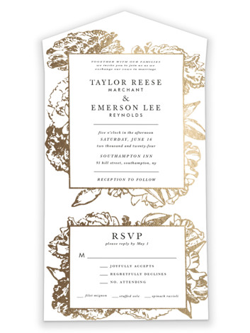Gilded Bloom All-in-One Foil-Pressed Wedding Invitations