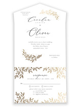This is a white all in one wedding invitation by Laura Hankins called Vine + Pen with foil-pressed printing on value cover in all-in-one.