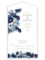This is a blue all in one wedding invitation by Olivia Raufman called Splendid Ink with foil-pressed printing on value cover in all-in-one.