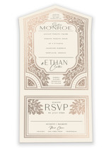 This is a beige all in one wedding invitation by GeekInk Design called Heirloom Branches with foil-pressed printing on value cover in all-in-one.