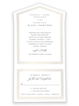 This is a white all in one wedding invitation by Amy Kross called Regent Edge with foil-pressed printing on value cover in all-in-one.