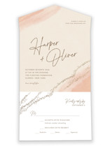 This is a pink all in one wedding invitation by Robin Ott called empyrean with foil-pressed printing on value cover in all-in-one.