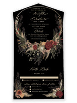 This is a black all in one wedding invitation by Susan Moyal called Botanical Edge with foil-pressed printing on value cover in all-in-one.