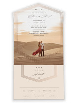 This is a brown all in one wedding invitation by fatfatin called Hexa with foil-pressed printing on value cover in all-in-one.