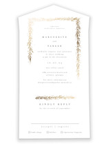 This is a white all in one wedding invitation by chocomocacino called kawaguchi with foil-pressed printing on value cover in all-in-one.