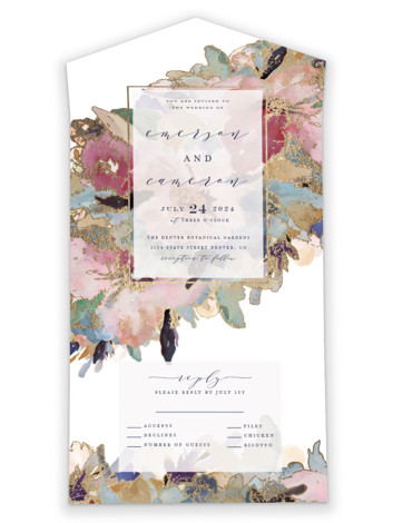 Gilded Drape All-in-One Foil-Pressed Wedding Invitations