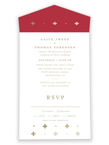 Venice All-in-One Foil-Pressed Wedding Invitations