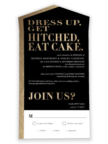Basically All-in-One Foil-Pressed Wedding Invitations