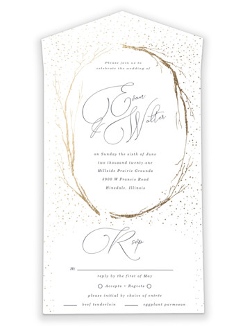 Whimsical Twigs All-in-One Foil-Pressed Wedding Invitations