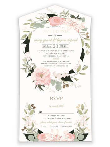 Petal Surround All-in-One Foil-Pressed Wedding Invitations