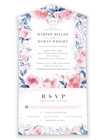 Monogrammed Watercolor Floral All-in-One Foil-Pressed Wedding Invitations