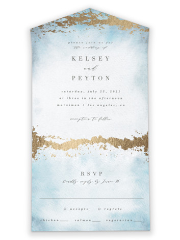 Ethereal Wash All-in-One Foil-Pressed Wedding Invitations