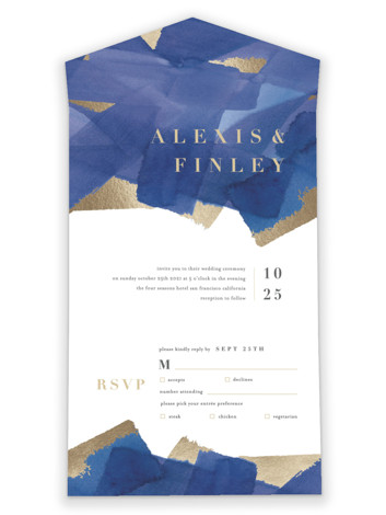 Modern Abstract All-in-One Foil-Pressed Wedding Invitations