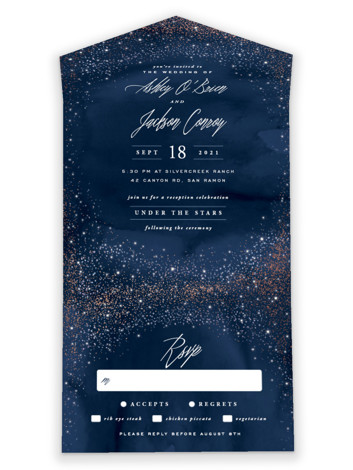 Sparkling Night Sky All-in-One Foil-Pressed Wedding Invitations
