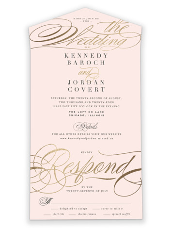 Filigree All-in-One Foil-Pressed Wedding Invitations