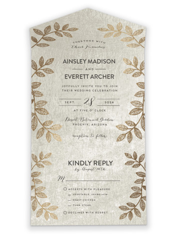 Folk Filigree All-in-One Foil-Pressed Wedding Invitations