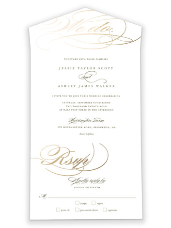 We Do. All-in-One Foil-Pressed Wedding Invitations