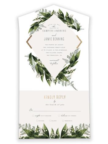 Diamante All-in-One Foil-Pressed Wedding Invitations