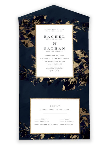 Midnight Vines All-in-One Foil-Pressed Wedding Invitations