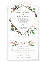 This is a green all in one wedding invitation by Robin Ott called Shade Garden with foil-pressed printing on value cover in all-in-one.