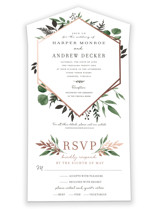This is a green all in one wedding invitation by Robin Ott called Shade Garden with foil-pressed printing on strathmore in all-in-one.