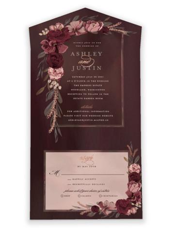 Verdigris All-in-One Foil-Pressed Wedding Invitations