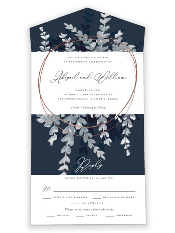 Sprigs Of Romance All-in-One Foil-Pressed Wedding Invitations