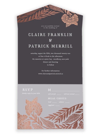 Block Printed Border All-in-One Foil-Pressed Wedding Invitations