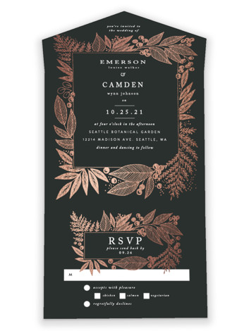 Fern Frame All-in-One Foil-Pressed Wedding Invitations