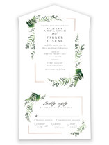 This is a green all in one wedding invitation by Kristie Kern called Framed in Ferns with foil-pressed printing on strathmore in all-in-one.