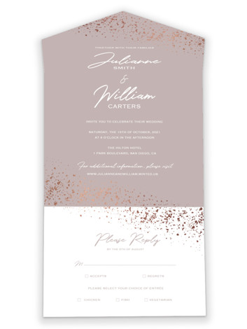 Paint Splash All-in-One Foil-Pressed Wedding Invitations