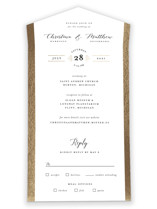 This is a white all in one wedding invitation by Genna Cowsert called Spruce with foil-pressed printing on strathmore in all-in-one.