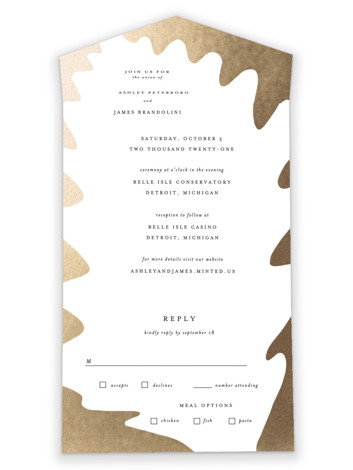 Leaf Silhouette All-in-One Foil-Pressed Wedding Invitations