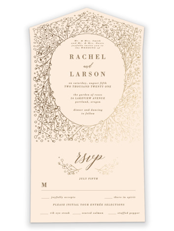 Baby's Breath All-in-One Foil-Pressed Wedding Invitations